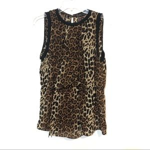 Zara cheetah print sleeveless layered front top
